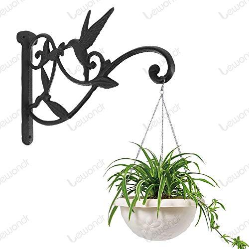 14 Inch Retro Outdoor Indoor Garden Hook D/écor Alloy Decorative Plant brackets with Screws for Bird Feeder Wind Chime Lantern Spray Paint Black 2 Pack Lewondr Wall Hanging Plant Bracket, Bird 03